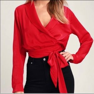 Lulus Top The Beckham Red Long Sleeve Wrap Satin